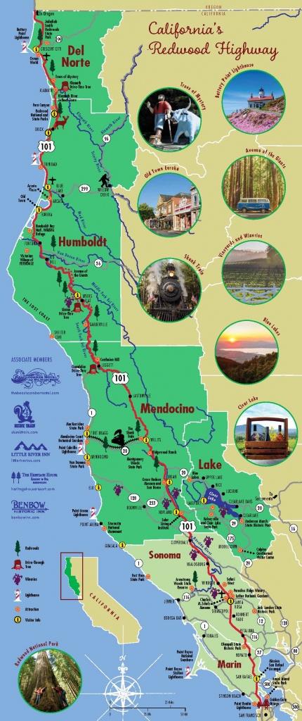Redwood Highway Map   California's North Coast Region - California Redwoods Map