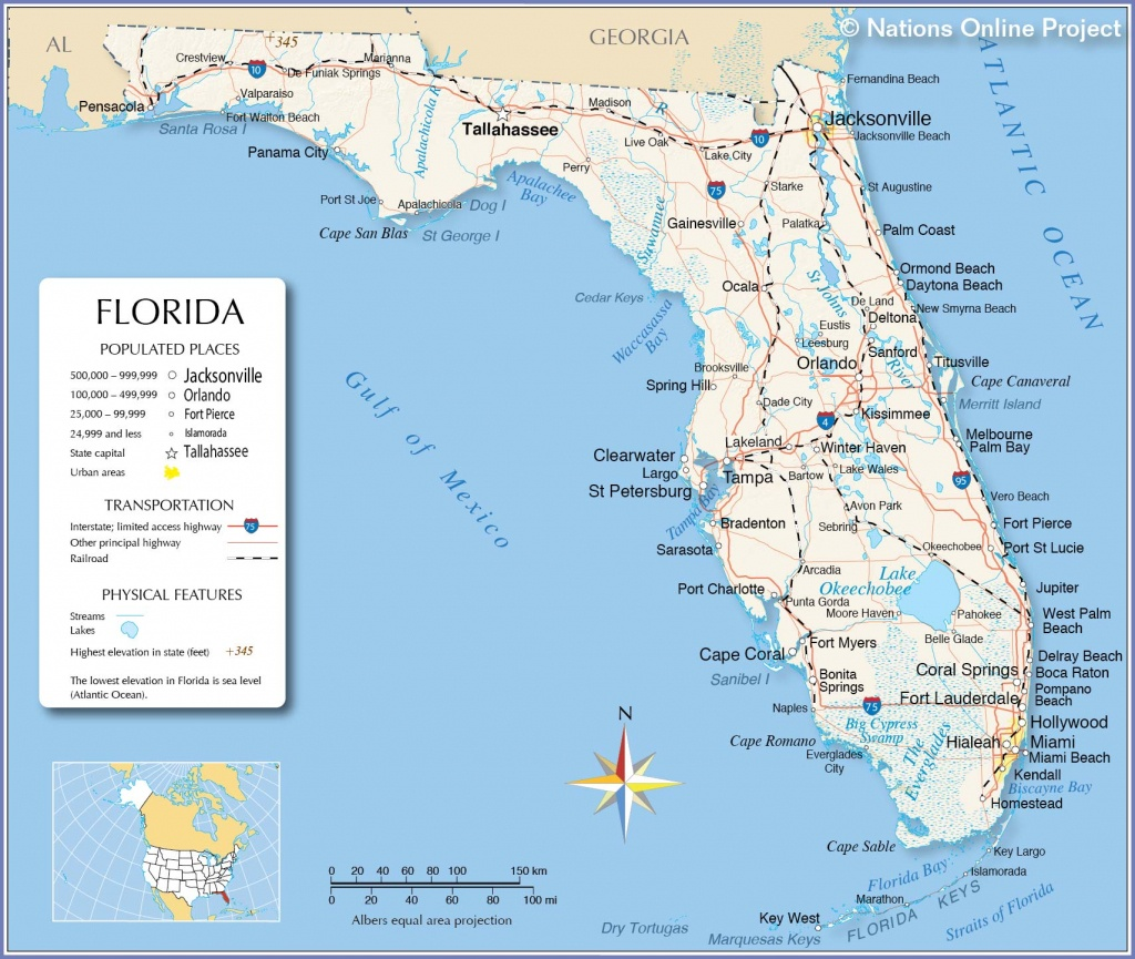 Reference Maps Of Florida, Usa - Nations Online Project - Map Of Florida Gulf Coast Beach Towns