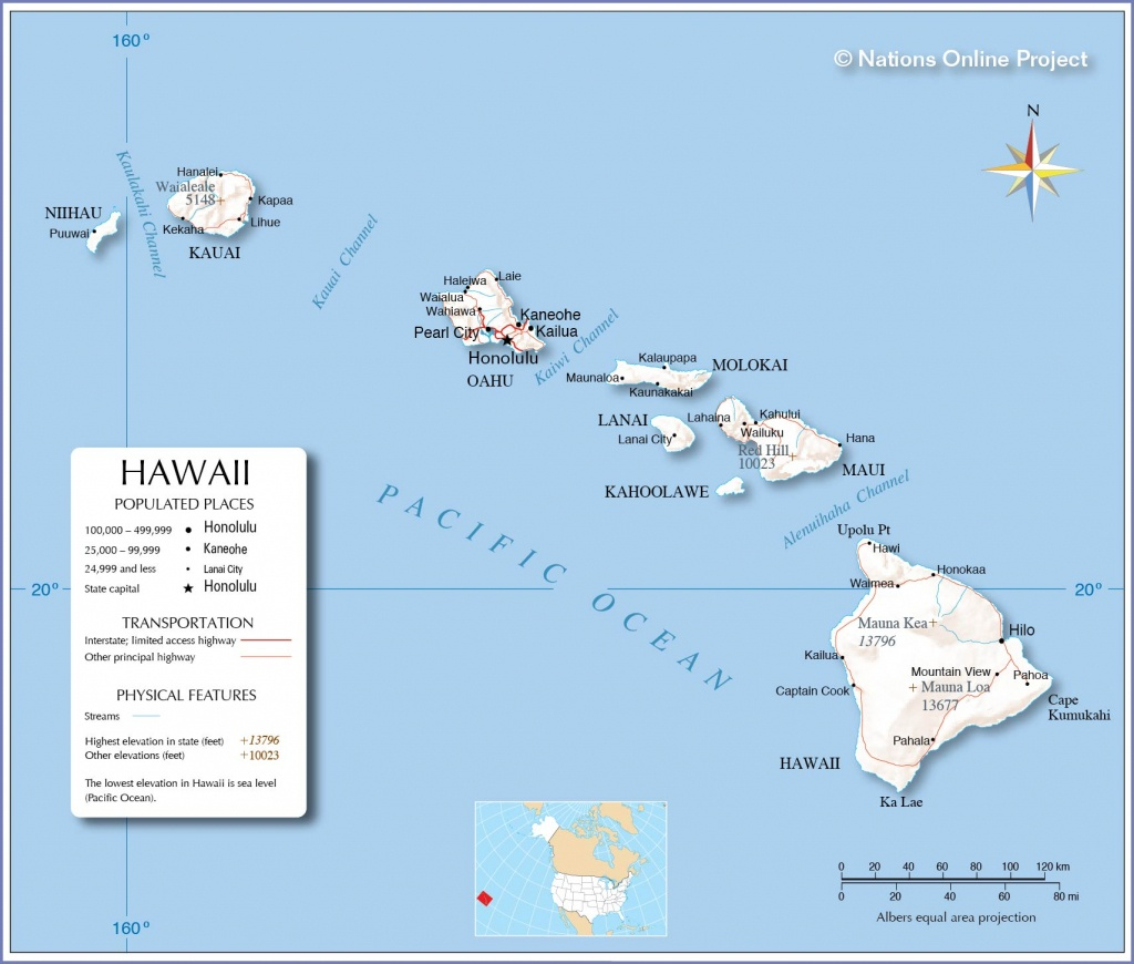 Reference Maps Of Hawaii, Usa - Nations Online Project - Map Of Hawaiian Islands And California