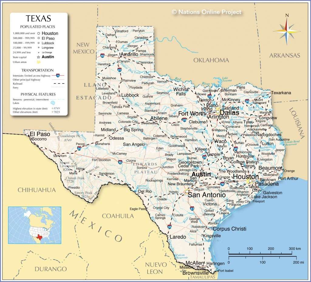 Reference Maps Of Texas, Usa - Nations Online Project - Map Of Central Texas Cities