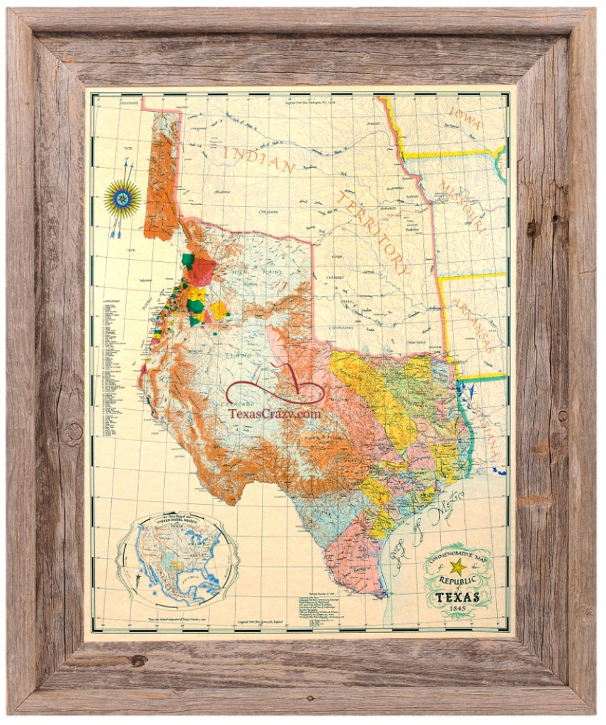 Republic Of Texas Map 1845 Large Framed - Republic Of Texas Map