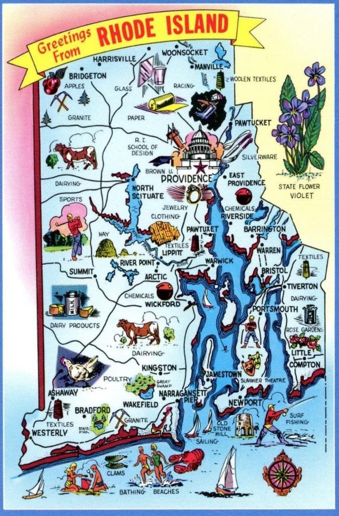 Rhode Island | Postcard | Providence Rhode Island, Travel Maps - Printable Map Of Providence Ri