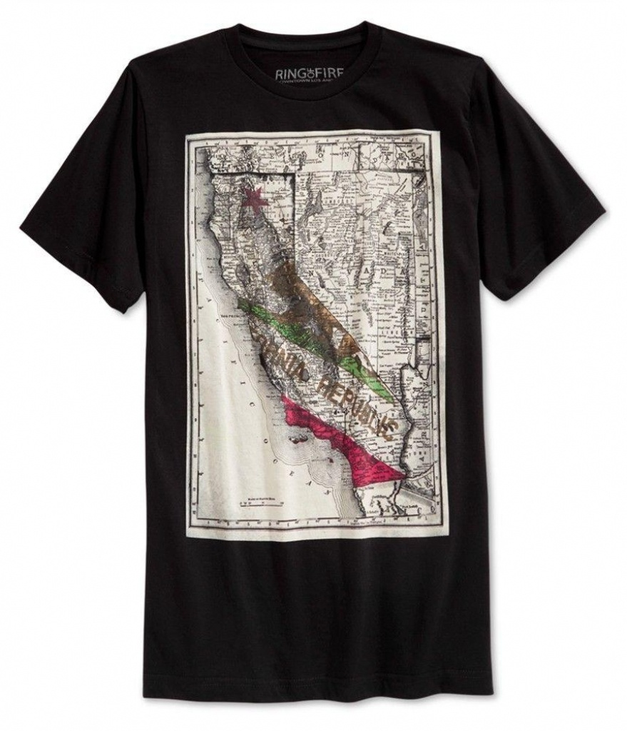 Ring Of Fire Mens California Map Graphic T Shirt Crazy Shirt Designs - California Map Shirt