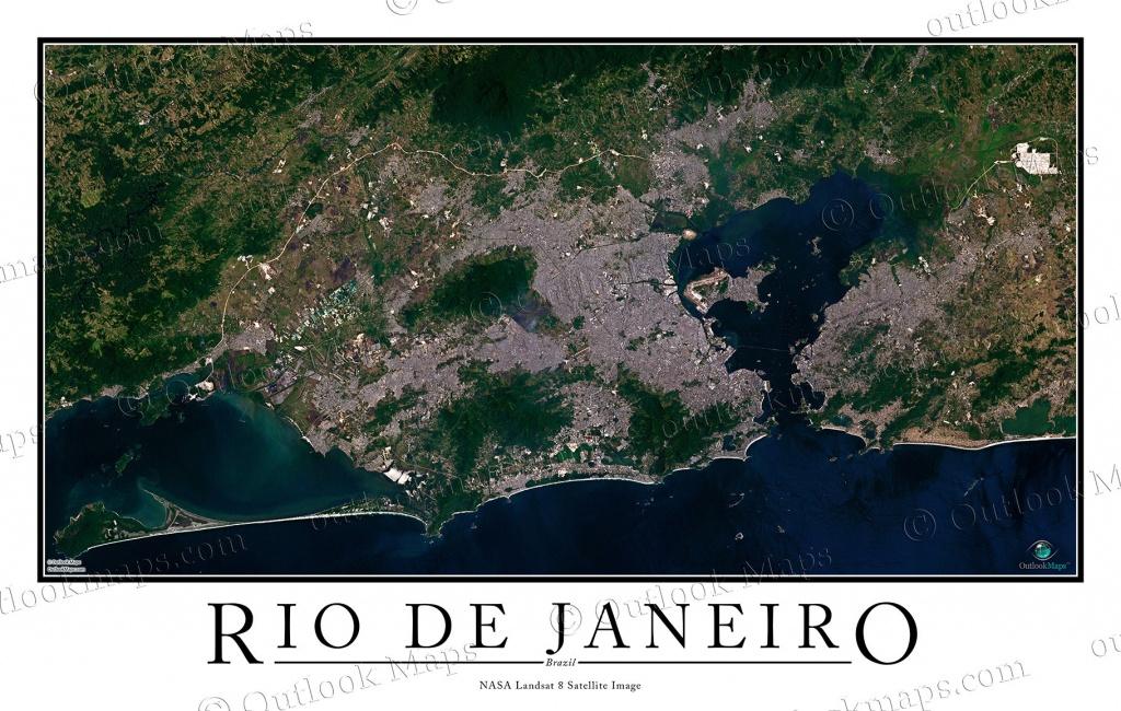 Rio De Janeiro, Brazil Satellite Map Print   Aerial Image Poster - Printable Map Of Rio De Janeiro