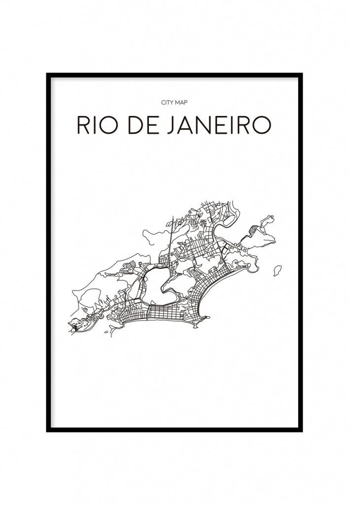 Rio De Janeiro Minimalist Map White, Printable In 2019   C A S A - Printable Map Of Rio De Janeiro