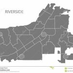 Riverside California City Map With Neighborhoods Grey Illustration   Riverside California Map