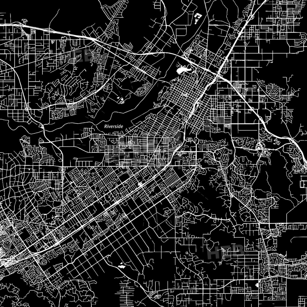 Riverside, California, Downtown Map, Dark | Hebstreits Sketches - Printable Map Of Riverside Ca