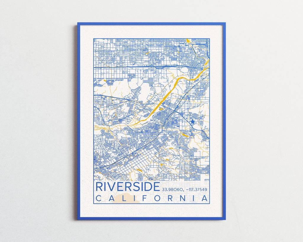 Riverside California Map Uc Riverside Poster Print City Map - Printable Map Of Riverside Ca