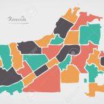 Riverside California Map With Neighborhoods And Modern Round   Riverside California Map