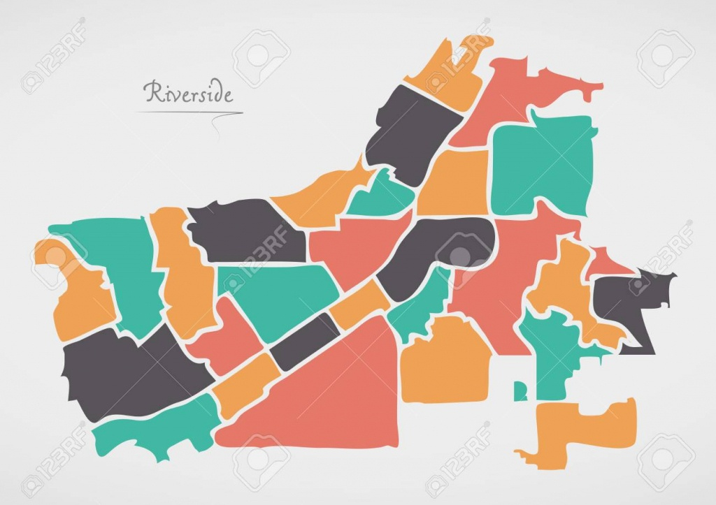 Riverside California Map With Neighborhoods And Modern Round - Riverside California Map