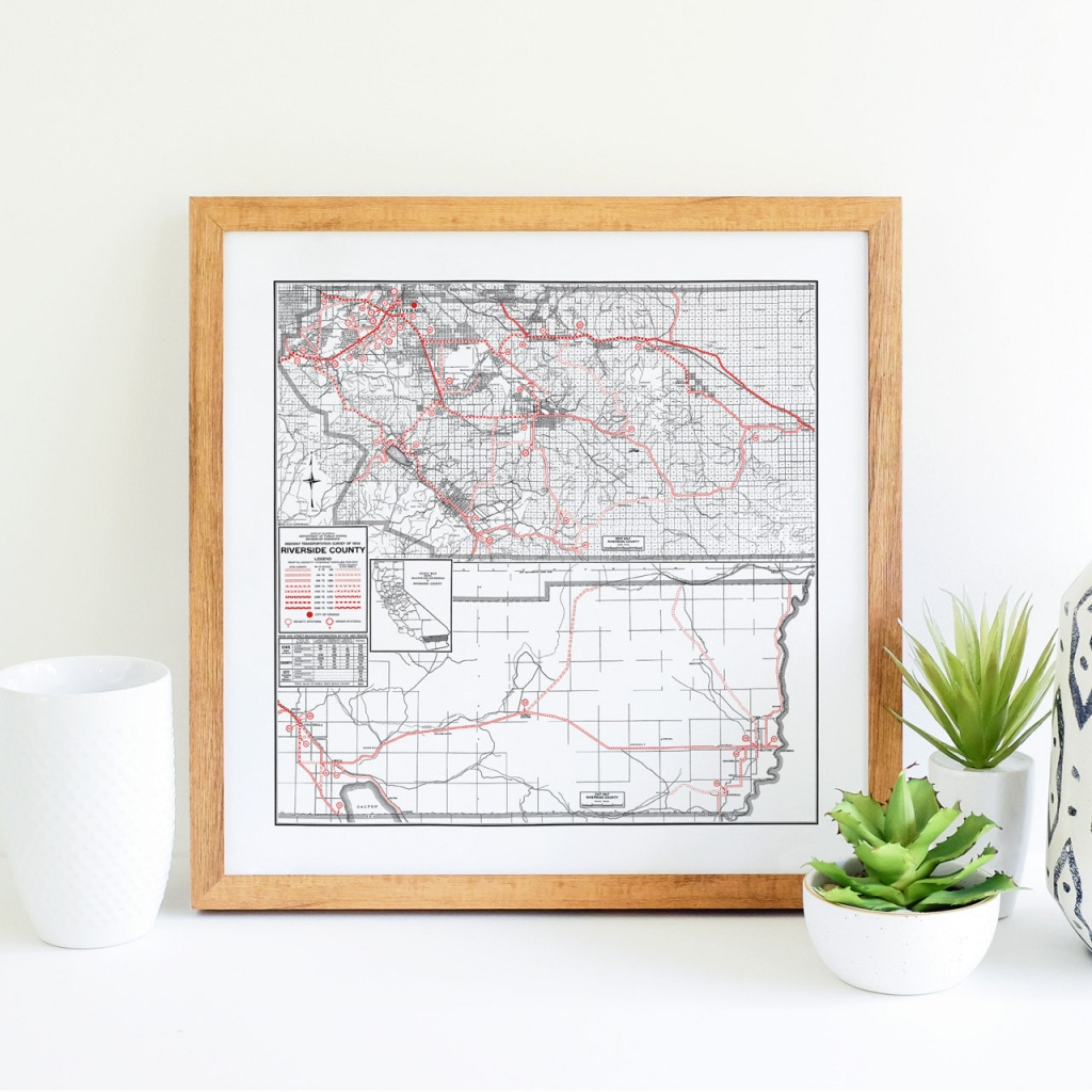 Riverside County California Map Riverside Art Riverside | Etsy - Printable Map Of Riverside County