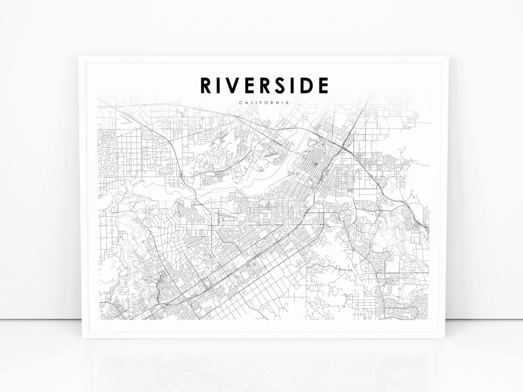 Riverside Map Print California Ca Usa Map Art Poster City | Etsy - Printable Map Of Riverside Ca