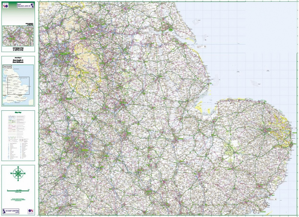 Road Map 5 - East Midlands & East Anglia - Printable Map Of East Anglia