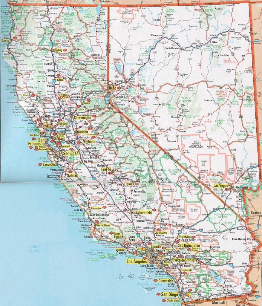 Road Map Of California Map With Cities California Nevada Map Image - California Nevada Map