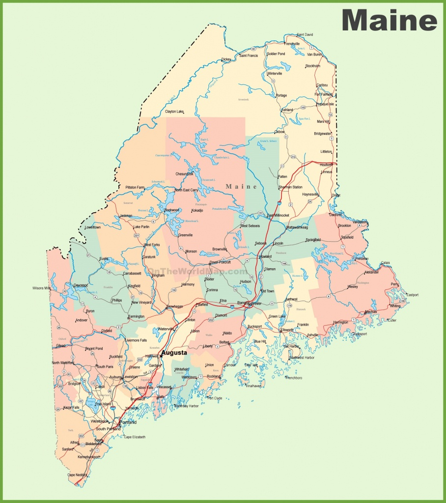 Road Map Of Maine With Cities - Printable Map Of Maine