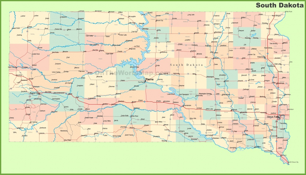 Road Map Of South Dakota With Cities - Printable Map Of South Dakota