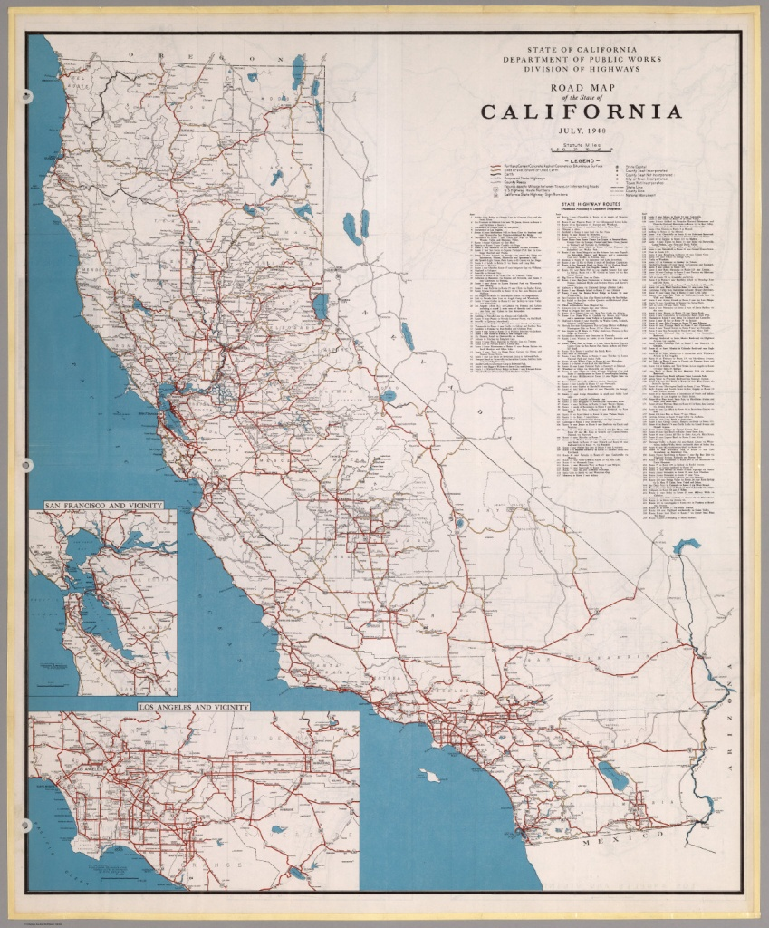 Road Map Of The State Of California, July, 1940. - David Rumsey - Driving Map Of California With Distances