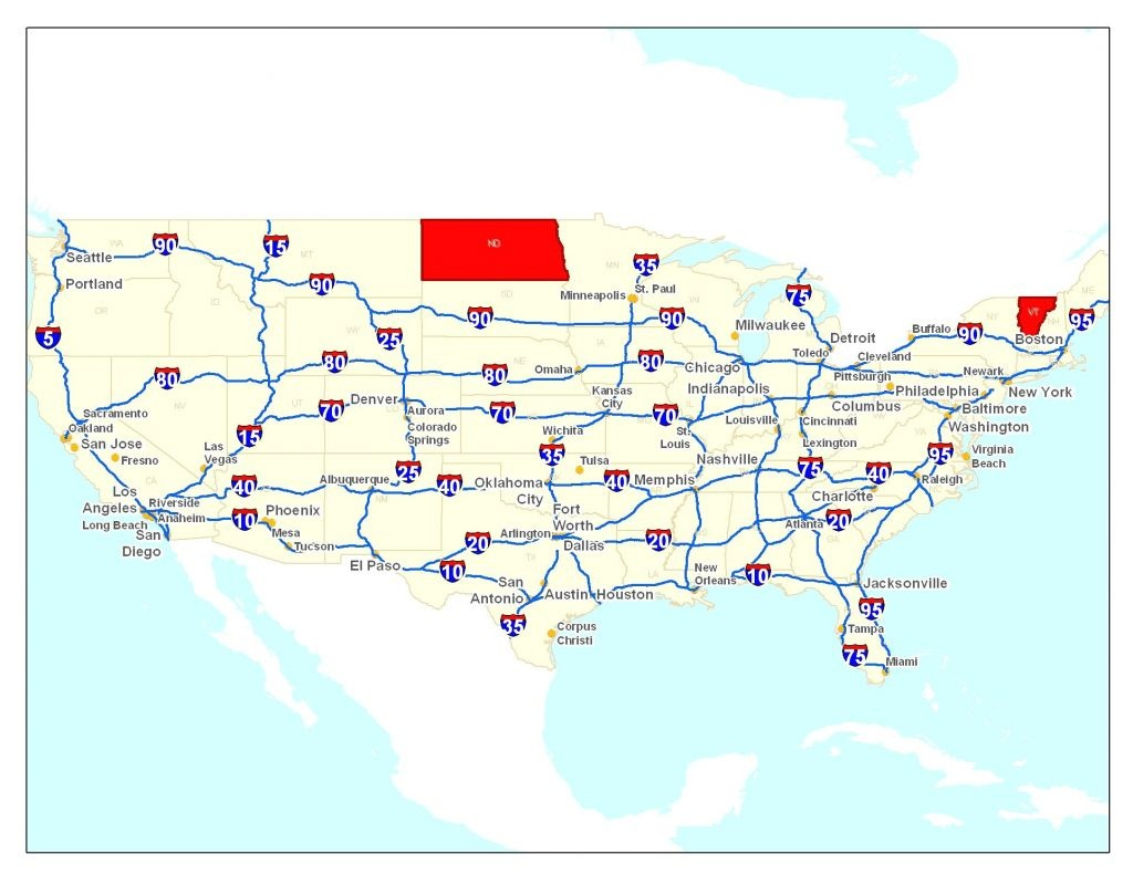 Road Map Of Usa Printable | : Road Map Of Usa - Printable Us Road Map