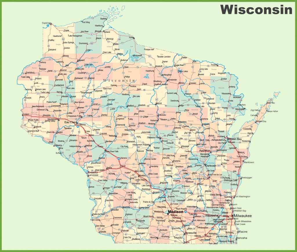 Road Map Of Wisconsin With Cities - Printable Map Of Wisconsin Cities