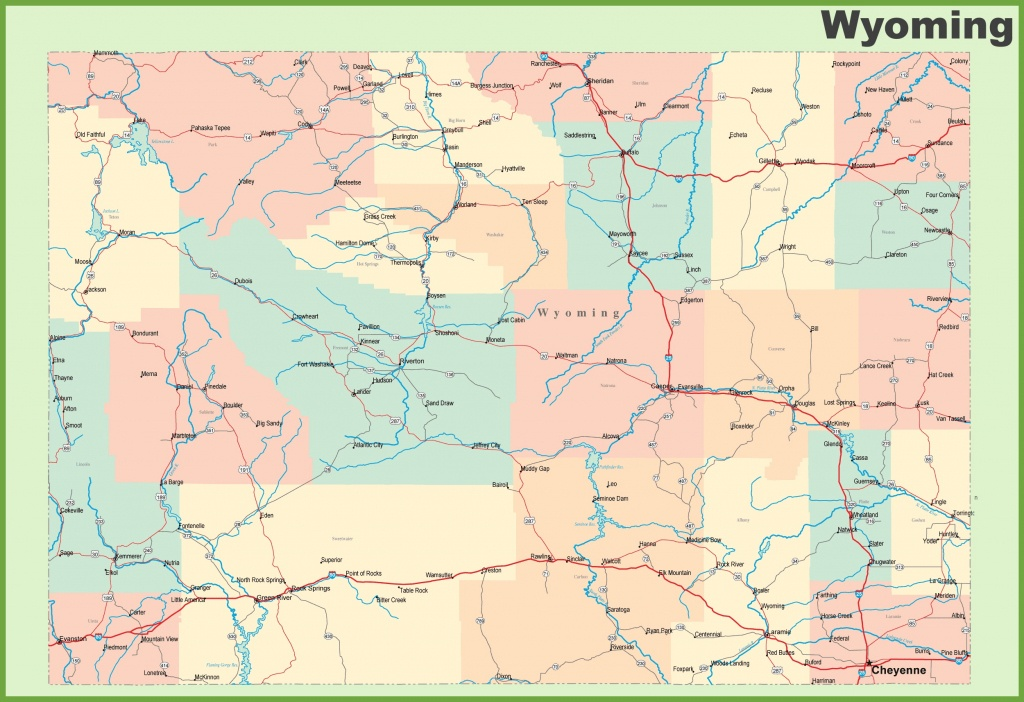 Road Map Of Wyoming With Cities - Printable Road Map Of Wyoming