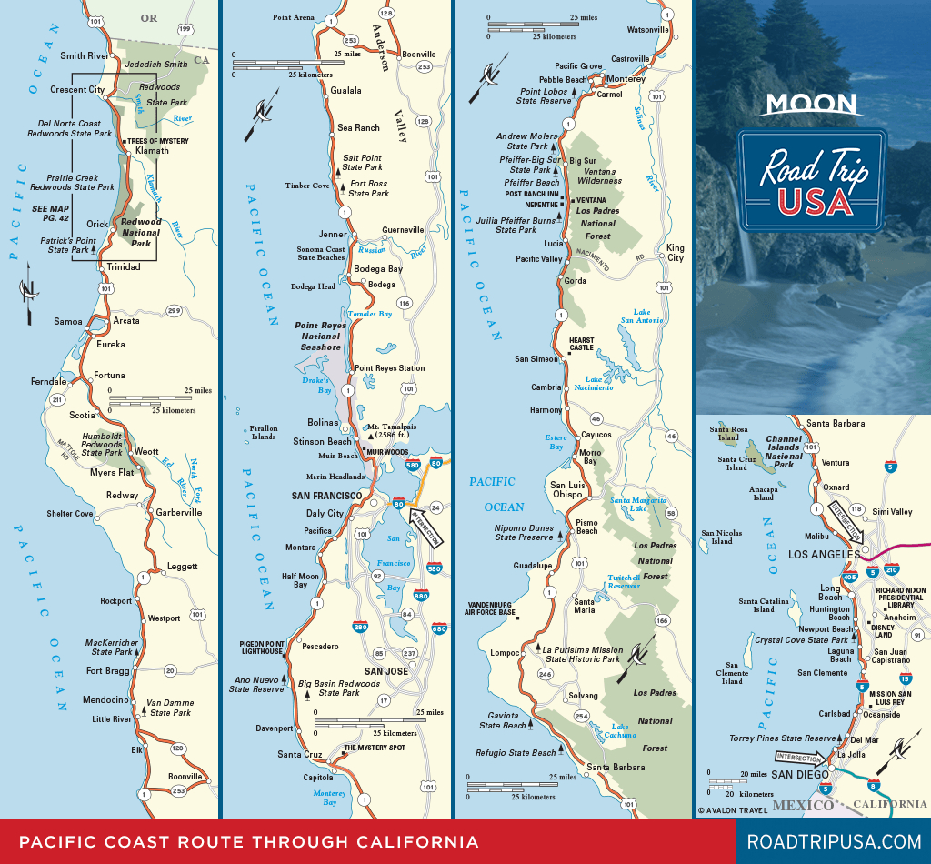 Road Trip California On The Classic Pacific Coast Route | Road Trip Usa - California Coast Map Road Trip