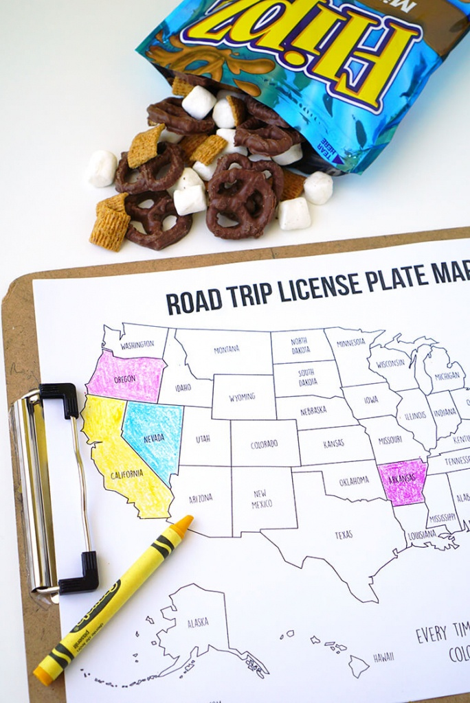 Road Trip Games: License Plate Coloring Map + S'mores Snack Mix - Road Trip Map Printable
