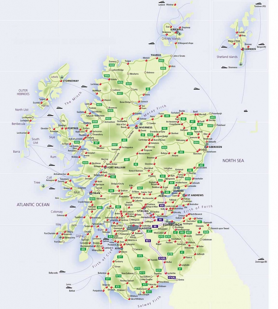 Roadmap Of Scotland – Scotland Info Guide - Printable Map Of Scotland With Cities