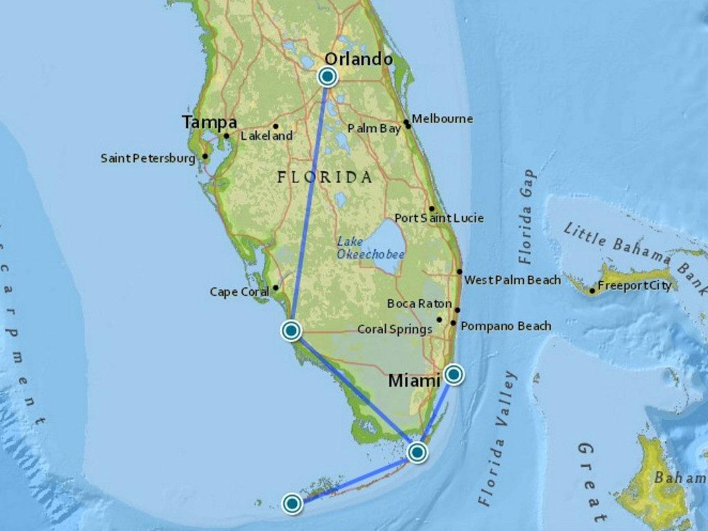 Roadtrip Florida: Onze Route Door The Sunshine State - Lies Rond De - Florida Road Trip Map