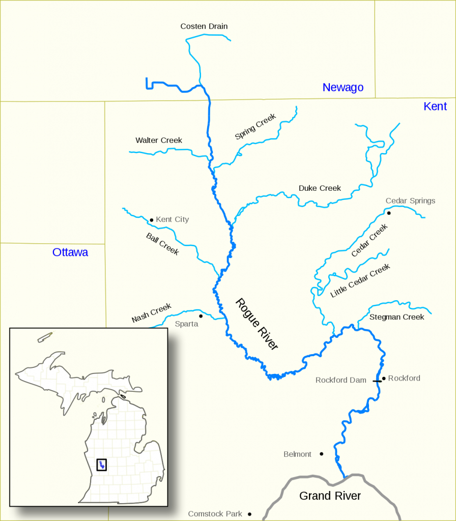 Rogue River (Michigan) - Wikipedia - Michigan River Map Printable