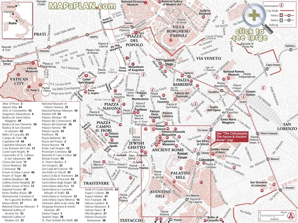 Rome Maps - Top Tourist Attractions - Free, Printable City Street Map - Printable Map Of Ancient Rome