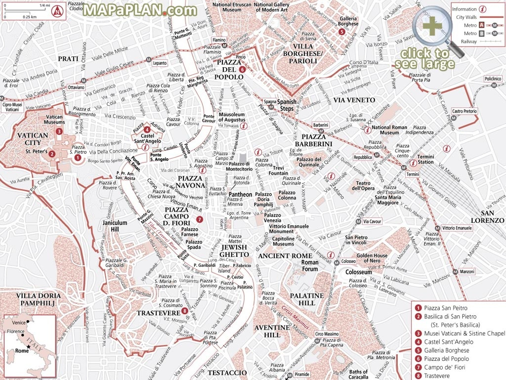Rome Maps - Top Tourist Attractions - Free, Printable City Street Map - Street Map Of Rome Printable