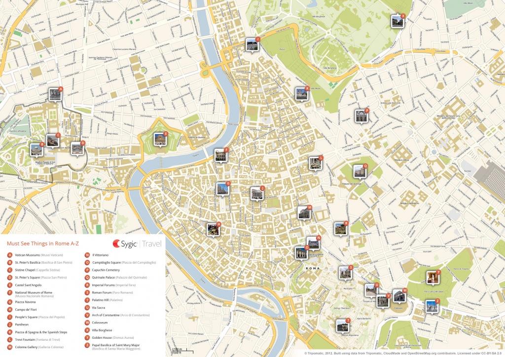 Rome Printable Tourist Map | Sygic Travel - Central Rome Map Printable