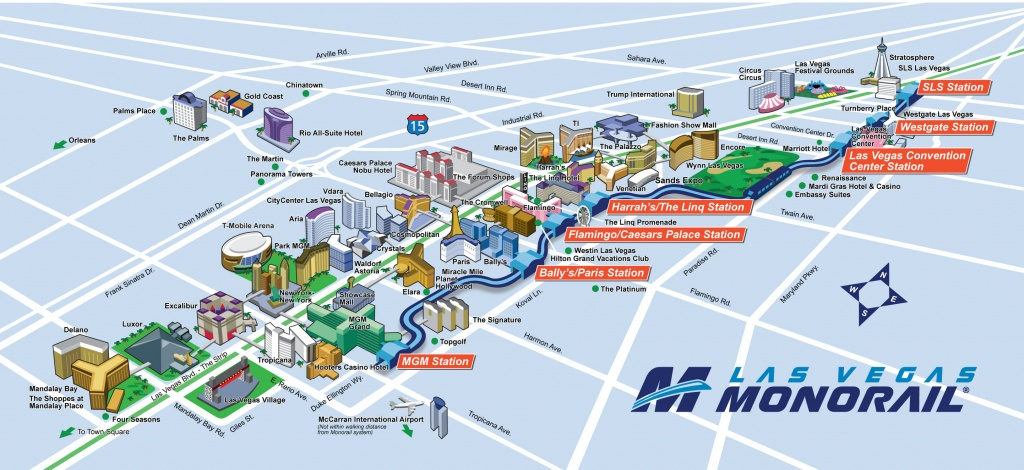 Route Map | Official Las Vegas Monorail Map - Las Vegas Strip Map 2016 Printable