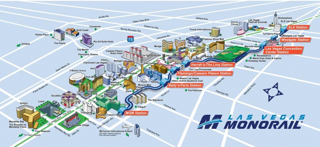 Route Map | Official Las Vegas Monorail Map - Printable Las Vegas Strip Map 2017