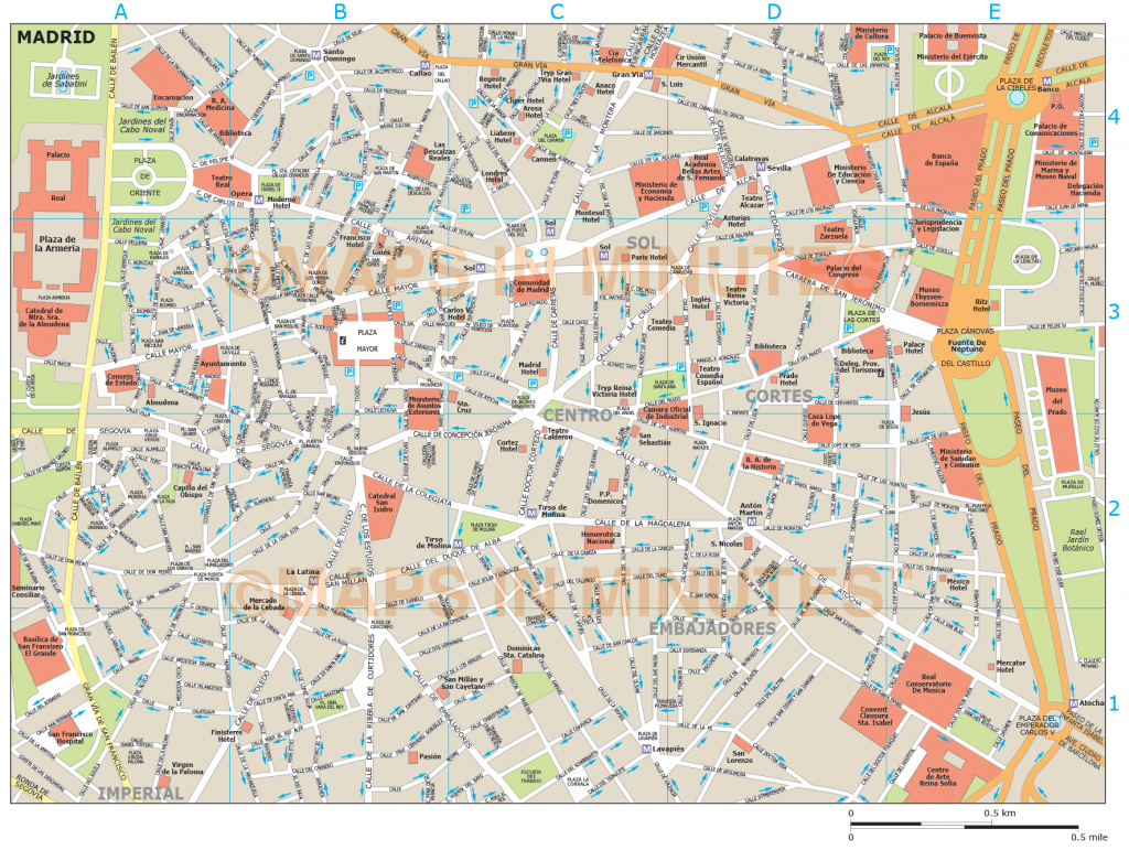 Royalty Free Madrid Illustrator Vector Format City Map - Madrid City Map Printable