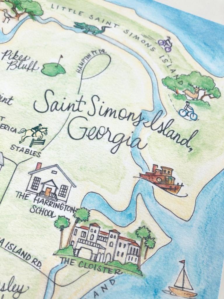 Saint Simons Island Georgia Map 8X10 Art Print | Etsy - Printable Map Of St Simons Island Ga