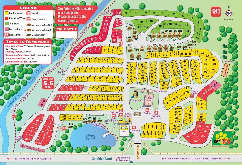 San Antonio, Texas Campground | San Antonio / Alamo Koa - South Texas Rv Parks Map