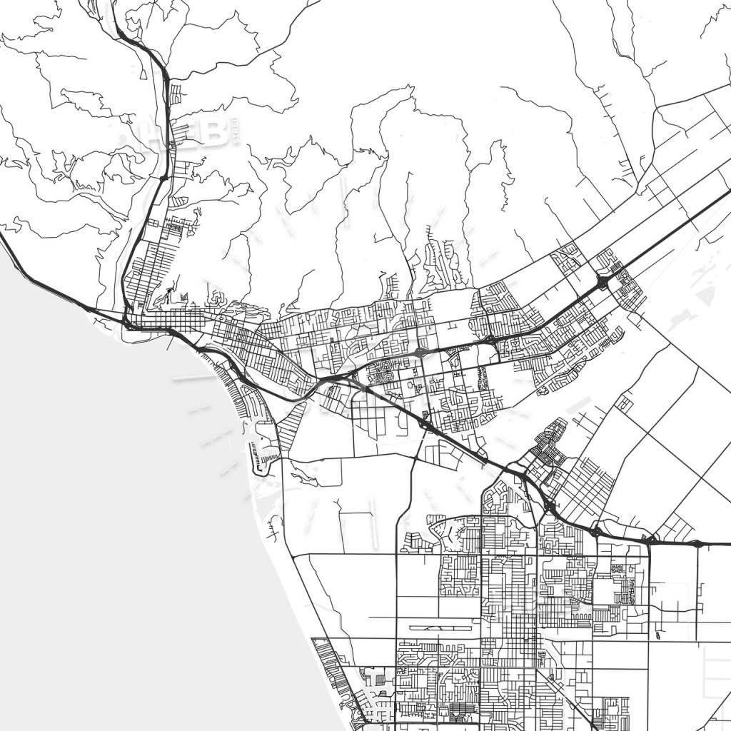 San Buenaventura (Ventura), California - Area Map - Light - Ventura California Map