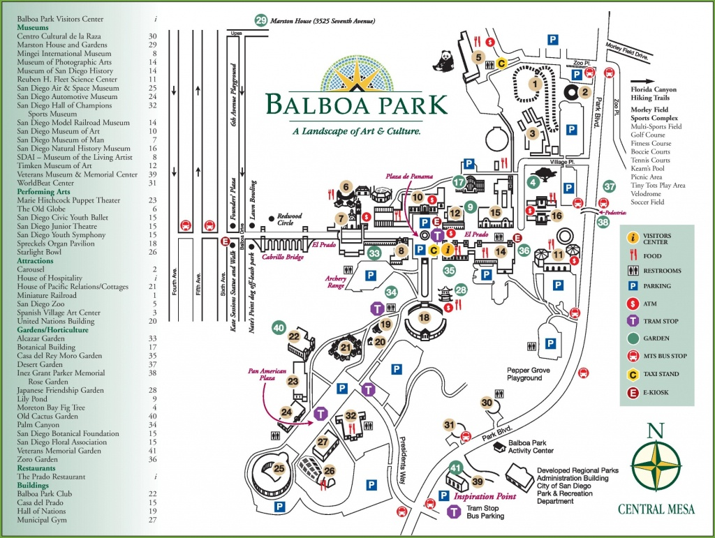 San Diego Balboa Park Map - Map Of Balboa Park San Diego California