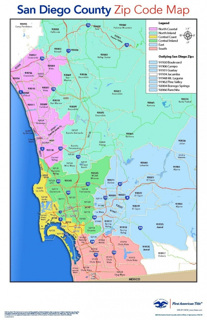 San Diego County Zip Code Map - San Diego County Map With Zip Codes - San Diego County Zip Code Map Printable