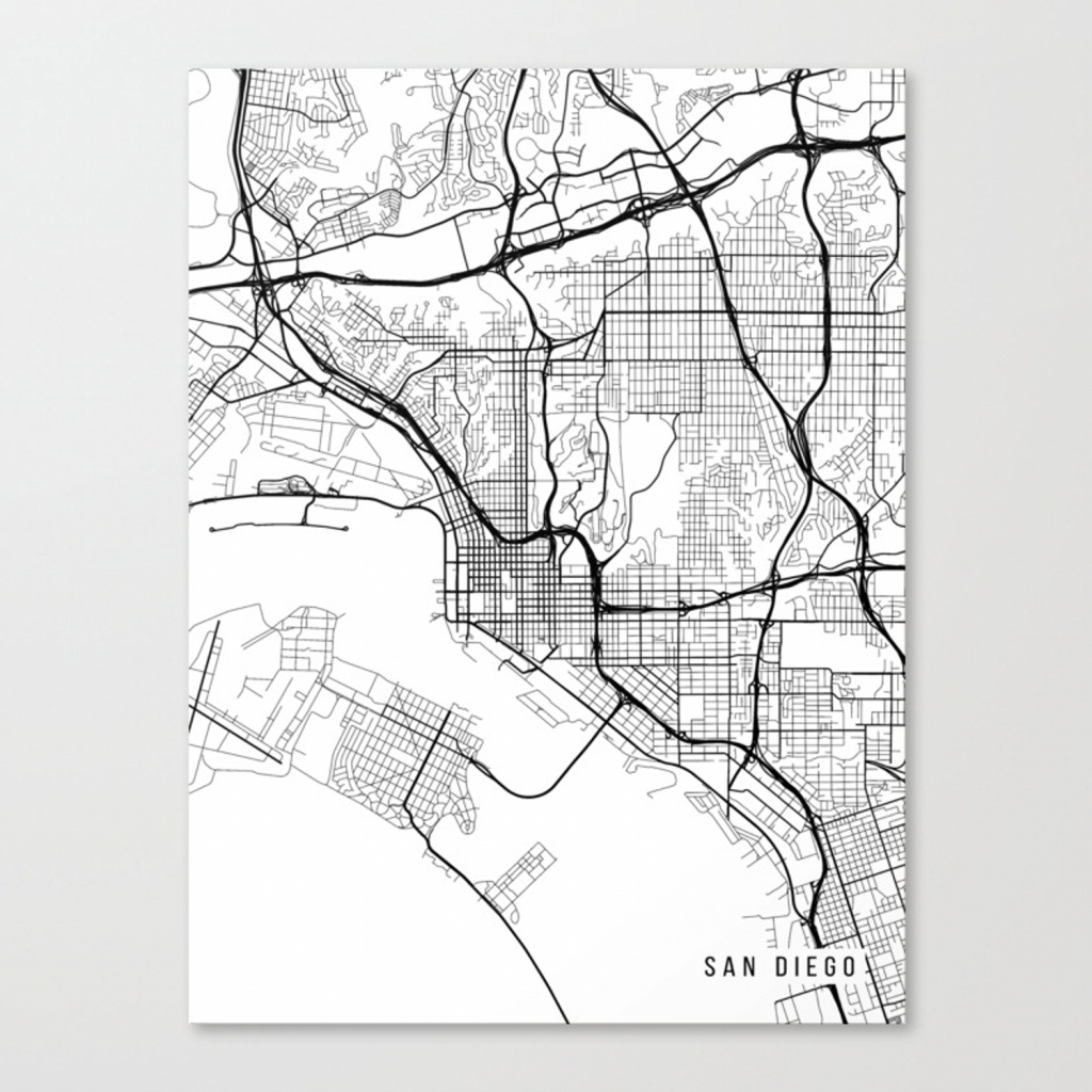 San Diego Map, California Usa - Black & White Portrait Canvas Print - California Map Black And White