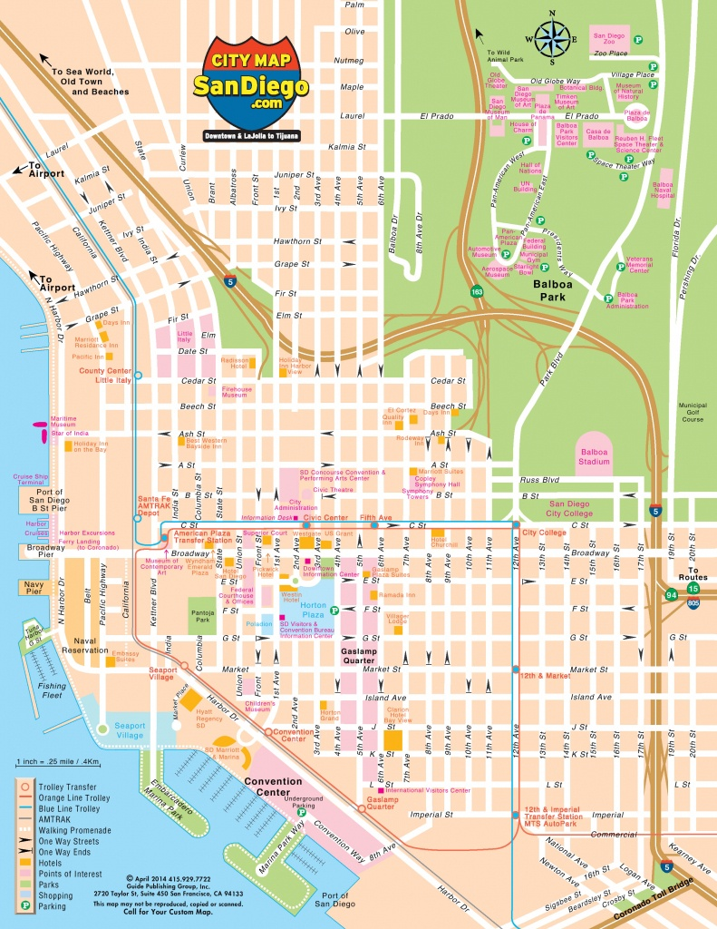 San Diego Map For Visitors - Printable Map Of Downtown San Diego