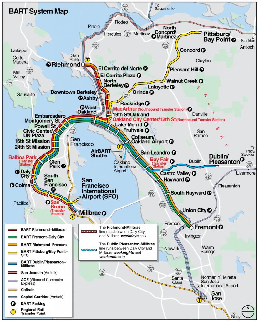 San Francisco Bart System Map (Railway) - Mapsof   San Fran - Printable Bart Map