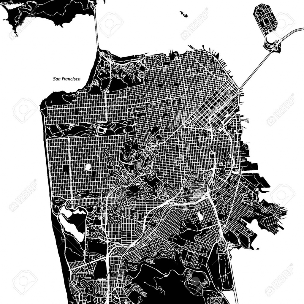 San Francisco, California. Downtown Vector Map. City Name On - Printable Map Of San Francisco Downtown