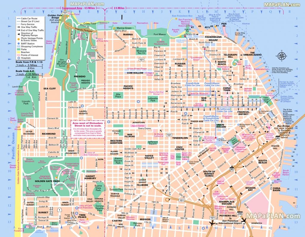 San Francisco Maps - Top Tourist Attractions - Free, Printable City - Printable Street Maps Free