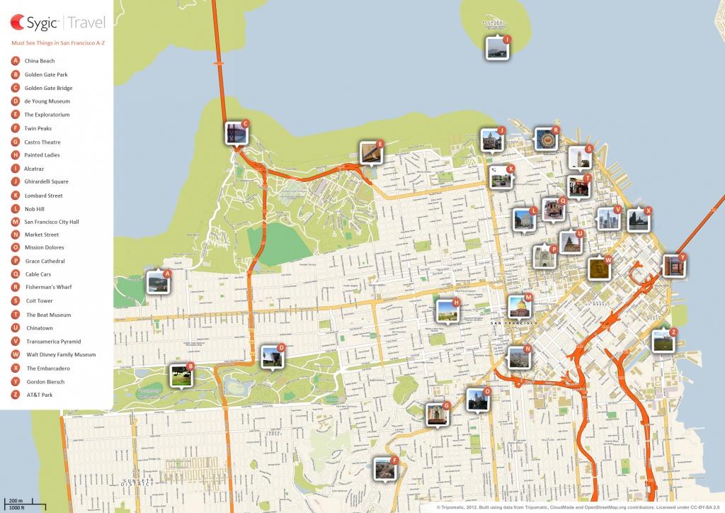 San Francisco Printable Tourist Map | Sygic Travel - Printable Map Of San Francisco