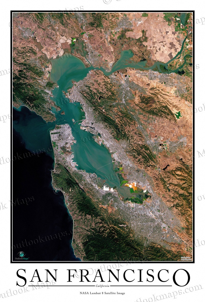 San Francisco Satellite Map Print   Aerial Image Poster - Satellite Map Of California