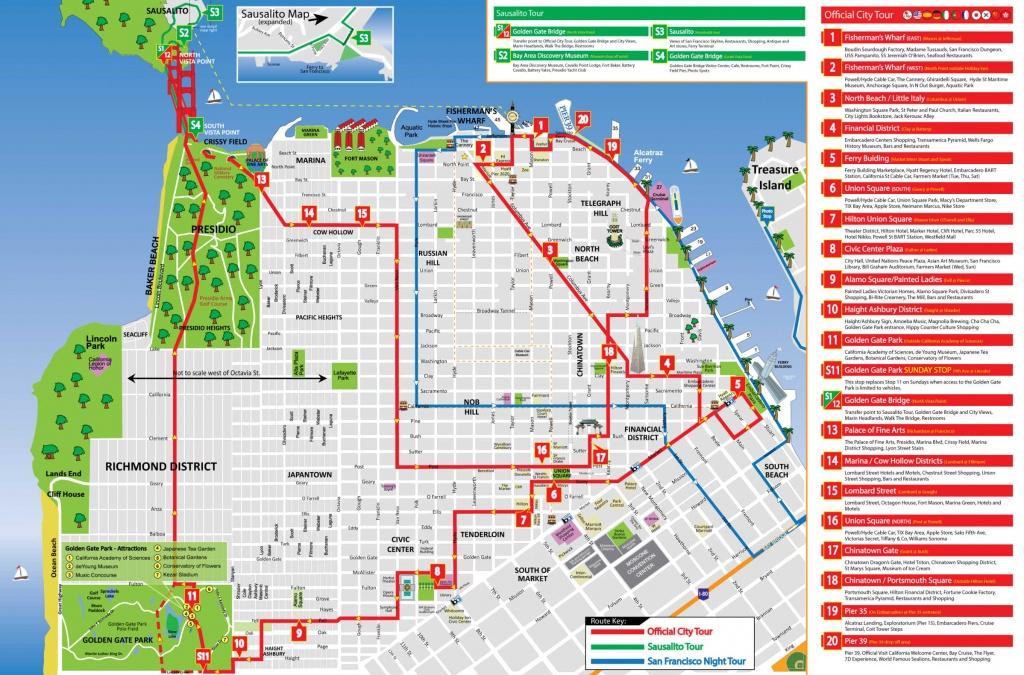 San Francisco Tour Map - City Sightseing - San Francisco City Map Printable