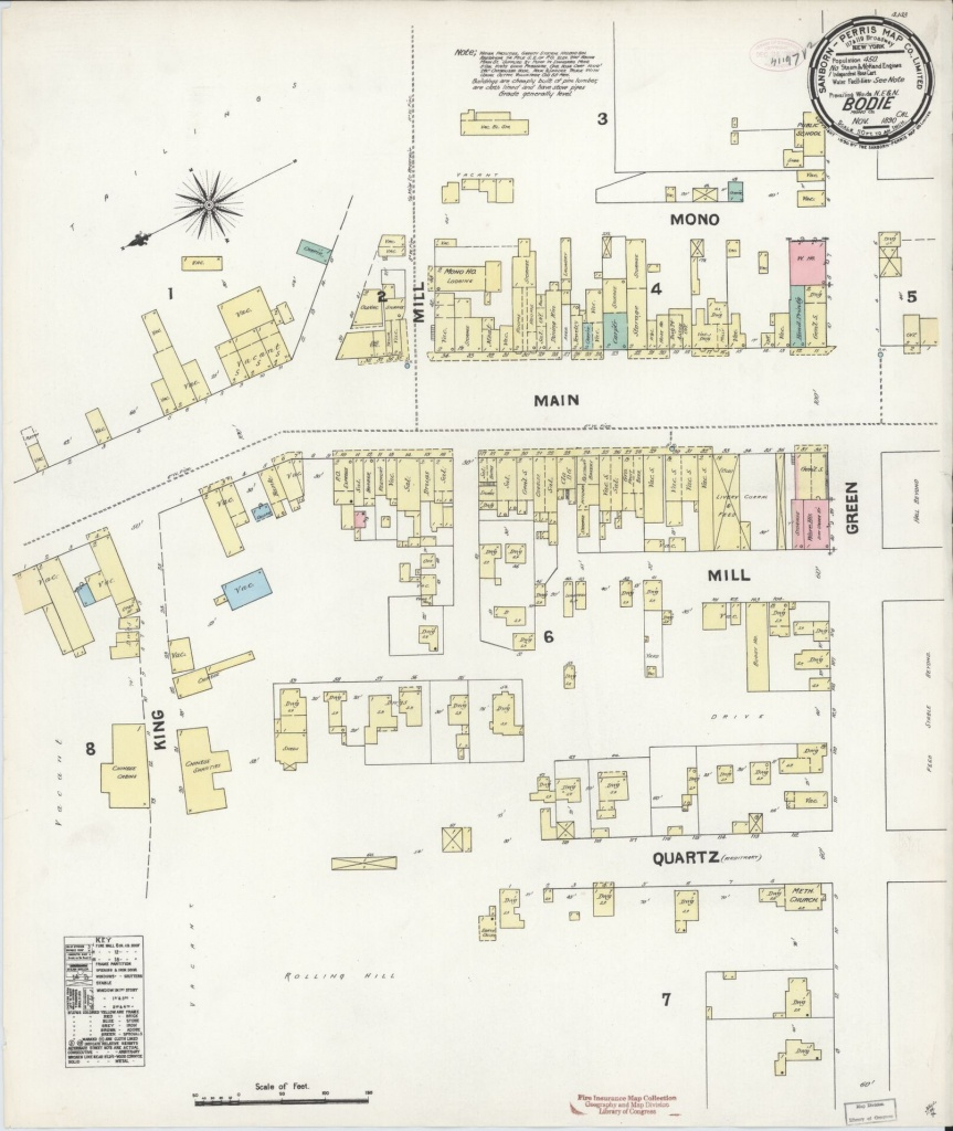 Sanborn Fire Insurance Map From Bodie, Mono County, California - Bodie California Map
