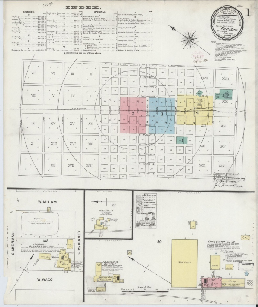 Sanborn Maps, Ellis County, Texas, Ennis, Available Online | Library - Ennis Texas Map